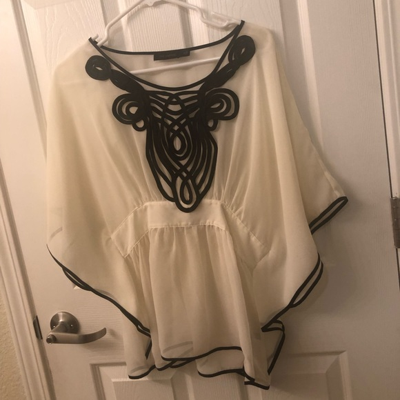 The Limited Tops - Black and Creme Blouse